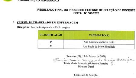 RESULTADO FINAL DO PROCESSO EXTERNO DE SELEÇÃO DE DOCENTE EDITAL N° 001/2020